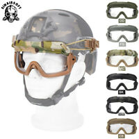 Tactical Split Anti-Fog Safety Goggles For ARC Helmet Guide Rail Glasses Airsoft