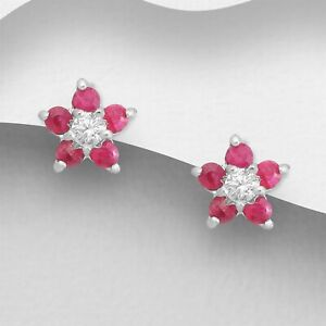 Genuine Real Solid 925 STERLING SILVER 3mm Round Pretty Pink CZ Earrings Studs
