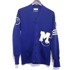 Vtg Blue WOOL Letterman Varsity Sweater Knit Stripe Junior High classic cardigan
