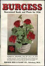Burgess Seeds Plants 1936 Home Gardening Catalog Galesburg Mi Fruits Vegetables