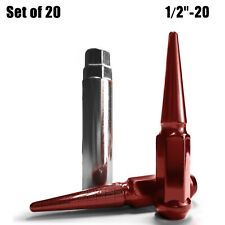 "Set of 20 - Steel Extended Spike Lug Nuts 4.5"" Long 1/2""-20 RHT RED Finish 5RD5"