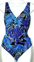 Speedo womens size 16 swimsuit one piece v neck padded cross strap tropical blue
