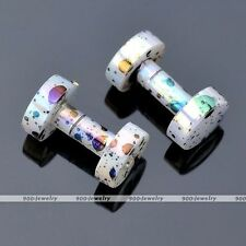 Pair(2) Acrylic White 12g Dot Double Flared Ear Tunnels Plugs Expander Earlets