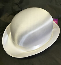 New white classic bowler hat tap dancing concerts formal fancy dress Satin trims