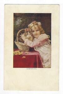 """Vintage """"Companions"""" Postcard Featuring Young Girl With Cat In Basket"""