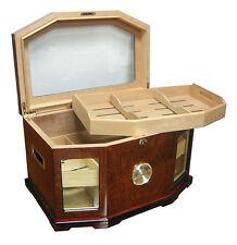 PORTOFINO 300 ~ Hi-Gloss Lacquer Glaze Walnut/Burl Pattern Finish Cigar Humidor