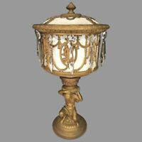 Vintage Slag Glass Urn Lamp  Elegantly Decorated Gold Gilt Base Glass Prisms