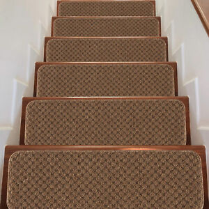 """Indoor Non Slip Carpet Stair Treads 8.5""""x26"""" Sets of 7 and 13 Waffle Pattern"""