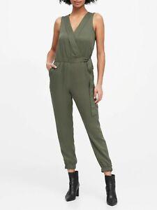 Banana Republic Tencel Wrap Jumpsuit Size- OP- Flight Jacket Green- NWT