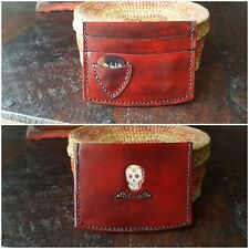 Leather Card Wallet that Holds Guitar Pick, Hand Crafted, Memento Mori