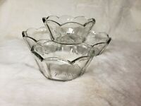 Vintage Glass Bowls Ice Cream Lot of 4 Clear Round Fruit Scalloped Retro Vtg