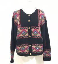 Vintage LL Bean Women's Large 100% Wool Hand Knit Southwest Aztec Cardigan L