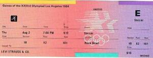 Rare 1984 Los Angeles August 2 LEVI STRAUSS & CO Unused Olympic Soccer Ticket
