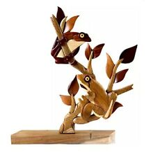 Tree Frog Table Top Decor Intarsia Wood Art Figurine New