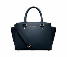 NWT Michael Kors Selma Medium Saffiano Leather NAVY Gold Satchel Bag Tote $298
