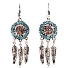BOHO FEATHER DANGLE DROP EARRINGS Bohemian Gypsy Ethnic Tribal Jewellery Gift