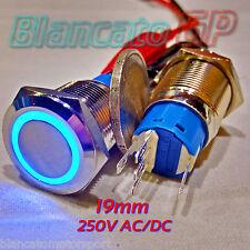 INTERRUTTORE a PULSANTE 19mm SPDT LED BLU 250V AC IP67 DEVIATORE antivandalo 5A