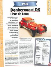 Donkervoort  D8 1993  NETHERLANDS PAYS-BAS  Car Auto FICHE FRANCE