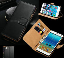 Genuine Real Leather Slim Wallet Flip Stand Case Cover for Mobiles Phones