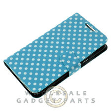 Samsung N7100 Note 2 Wallet Pouch Polka Dots Light Blue/White Protector Guard