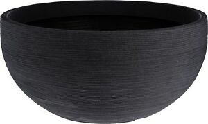 Extra Large Ribbed Charcoal Round Bowl Planter Plant Pot 58cm Wide