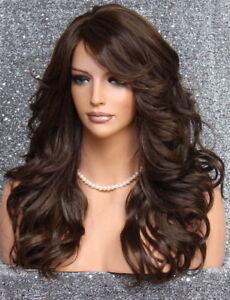 Heat OK Wavy Long Human hair blend full Wig Brown mix Bangs Layered 6/27 WBPO