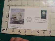Herman Melville aug 1, 1984 boat, whale, face on 20 cent stamp, info on back