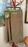 Jayli Vintage Boho Hippie Green corduroy Skirt W/fanny Pack (AA9)