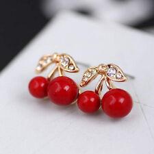 Gold Plated Fruit Red Cherry Crystal Studs Earrings Women Girls Eardrop Jewelry
