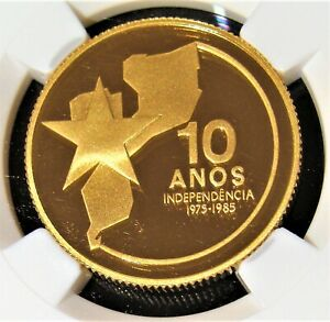 """Mozambique gold """"Independence Anniversary"""" 2000 Meticais 1985 PR69 UC NGC. RARE!"""