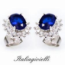 Fine Jewelry 14k Oro Bianco Gemstone Zaffiro Blu Agitò Stretto Orecchini