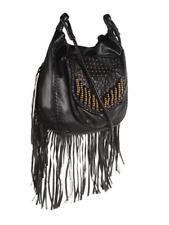 BILLABONG Remember Mi Womens Fringe Shoulder Bag Cross-body Black Leather Studs