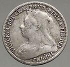 1896 UK Great Britain United Kingdom VICTORIA Threepence Silver Coin i56786