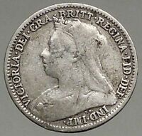 1896 UK Great Britain United Kingdom VICTORIA Threepence Silver Coin i56786