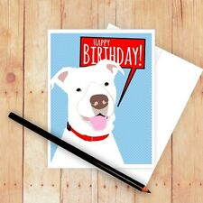 Happy Birthday Pit Bull Note Card (NCGOB021) Blank Inside -FREE SHIPPING!