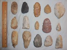 (15) Large Native American Indian Scrapers / Cutting Tools / Artifacts