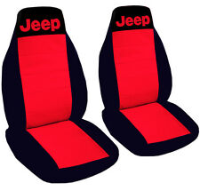 Jeep Wrangler Seat Covers Red & Black with Jeep Canvas Front Set