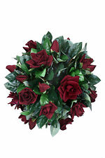 "ARTIFICIAL 14"" VELVET ROSE BALL TOPIARY SILK FLOWER BUSH PLANT Wedding Party"