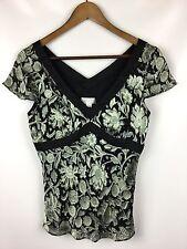 ANN TAYLOR Loft Silk Blend Blk Lt Green Floral Empire Waist Blouse Top Small