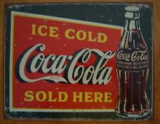 Ice Cold Coca Cola Here Rustic Green Reproduction 1923 Coke Bottle Sign