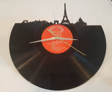 Handmade Paris Skyline Record Vinyl Clock 12'' Vinyl French Fathers Day Gift