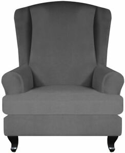 Wing Chair Cover Machine Washable Stretchy Polyester Slipcover Protector GREY