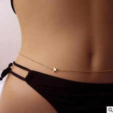 delicate simple star Waist Belly Body Bikini Chain One Size Adjustable silver UK