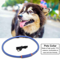 TPU Rechargeable USB Waterproof LED Flashing Light Band Safety Pet Dog Collar SP