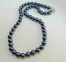 18 ins Dark Blue/Black Shell Pearl Necklace