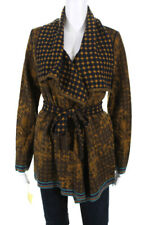 Catherine Andre Womens Belted Alicia Cardigan Sweater Gold Navy Blue Size 2XL