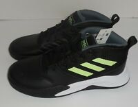 Adidas Boys 6 Youth WIDE Own The Game Basketball Shoes Black Green New Sneakers