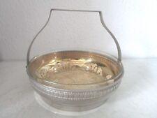 Sehr dekorative Art Deco Metallschale mit Glaseinsatz Henkelschale (D950)