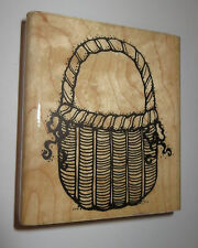 """Wicker Basket Rubber Stamp 3.5"""" High D.O.T.S. Wood Mounted Q160 Ribbons Picnic"""