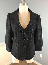 CHAUS Navy Blue Black polka dot blazer Jacket Career Cocktail Excellent M 8 crop